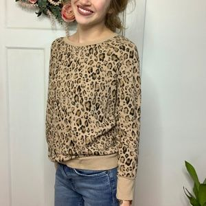 Joie Cheetah Printed Terry Cotton Pullover Sweater